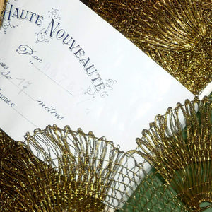 Antique French Gold Metal Scalloped Lace Trim