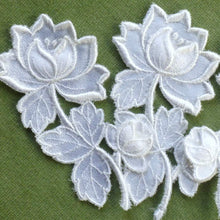 Load image into Gallery viewer, Vintage Swiss Embroidered Satin Appliqués