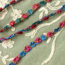 Load image into Gallery viewer, Antique French Ribbon Rococo Flower Trim Gold Metal Threads    By the yard