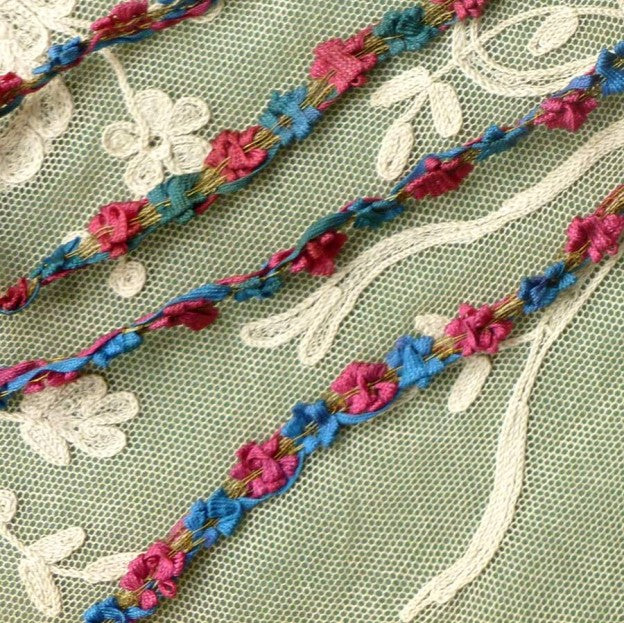 Antique French Ribbon Rococo Flower Trim Gold Metal Threads    By the yard