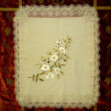 Load image into Gallery viewer, Antique Silk Embroidered Roses & Handmade lace Cover
