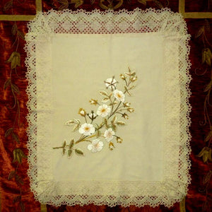 Antique Silk Embroidered Roses & Handmade lace Cover