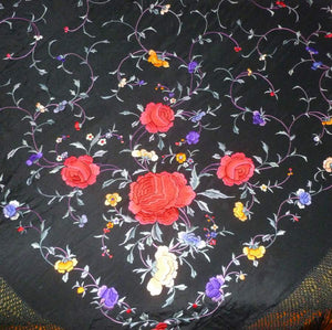 Circa 1920's Silk Embroidered Shawl