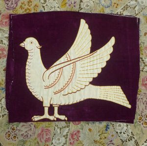 Antique Hand Embroidered Velveteen Doves