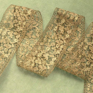 Antique Gold Metal Lace 2 & 1/4th Inch Width