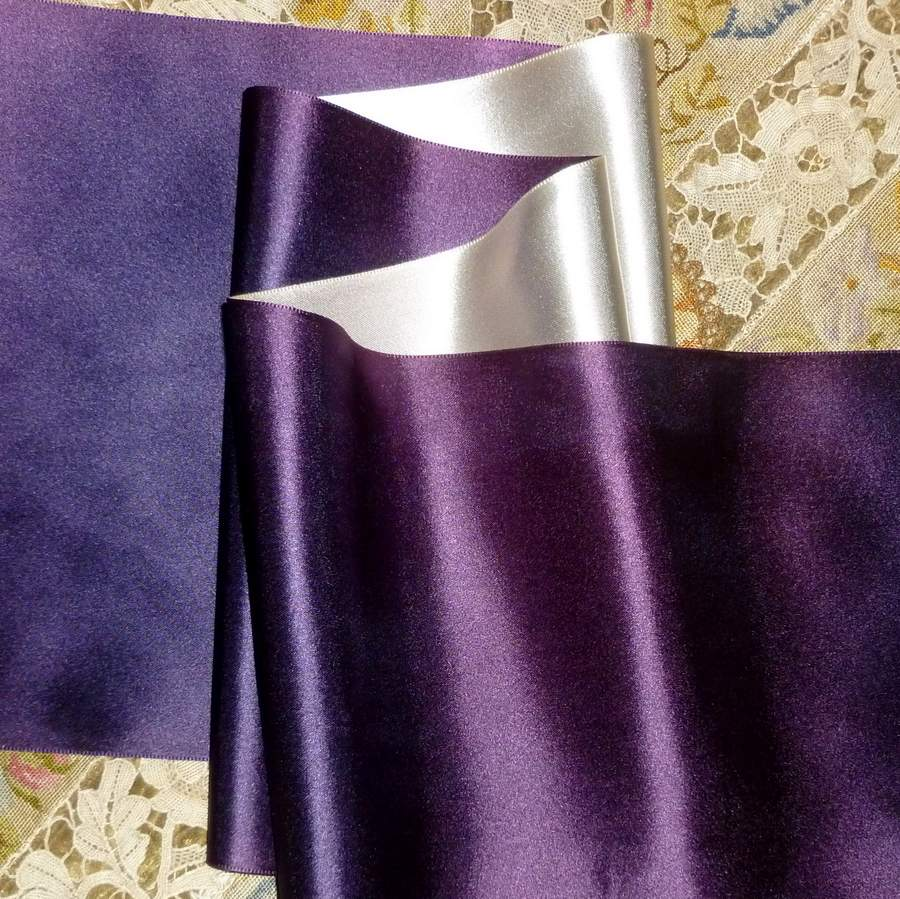Vintage Royal Purple/Violet & Silver Satin Ribbon Double Sided