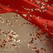 Load image into Gallery viewer, Vintage SILK Satin Damask Woven Fabric With Cherry blossom Motifs