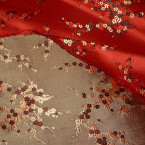 Vintage SILK Satin Damask Woven Fabric With Cherry blossom Motifs