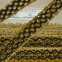 Load image into Gallery viewer, Vintage Gold Tinsel & Silky Black Embroidered Trim