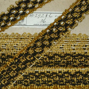 Vintage Gold Tinsel & Silky Black Embroidered Trim