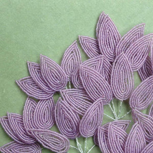 Vintage French Lavender Glass Beaded Leaves
