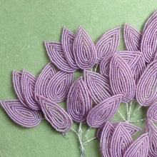 Load image into Gallery viewer, Vintage French Lavender Glass Beaded Leaves