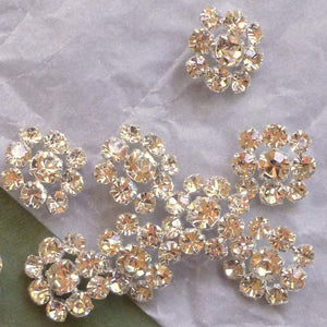 Vintage Czech Clear Foil Backed Prong set Rhinestone Buttons