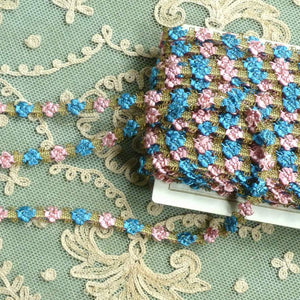 Antique French Rococo Pink & Blue Floss and Gold Metal Trim      12 Inches