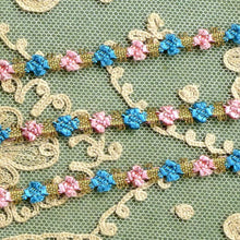 Load image into Gallery viewer,  Antique French Rococo Pink & Blue Floss and Gold Metal Trim      12 Inches