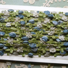 Load image into Gallery viewer, Antique French Blue Ombre Ribbon Rosette trim     By the yard