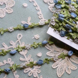 Antique French Blue Ombre Ribbon Rosette trim     By the yard
