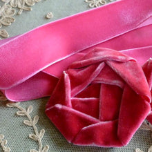 Load image into Gallery viewer, Vintage Shocking Pink Velvet Ribbons