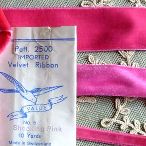 Vintage Shocking Pink Velvet Ribbons