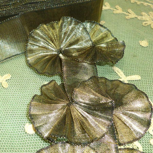 Antique French Gold METAL & Silk Tissue Ribbon