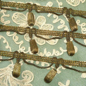 Antique Gold/Bronze Metal Bobble Embellished Trim