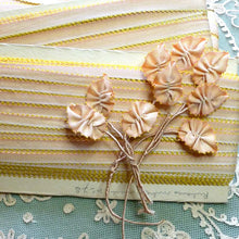Load image into Gallery viewer, Circa 1920 French Picot Ombre Ribbons Apricot Pink With Yellow Picots
