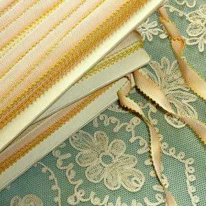 Circa 1920 French Picot Ombre Ribbons Apricot Pink With Yellow Picots