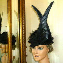 Load image into Gallery viewer, Edwardian Raven Black French Millinery Wings