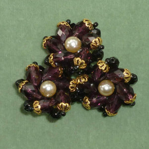 Large Amethyst Glass Beaded Czech Button