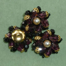 Load image into Gallery viewer, Large Amethyst Glass Beaded Czech Button