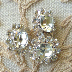 Vintage Czech Prong Set Rhinestone Buttons Three Shapes