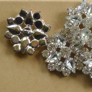 Pear and Round Vintage Prong Set Rhinestone Buttons