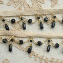 Load image into Gallery viewer, Antique Jet Black and Gold Glass Beaded Trim