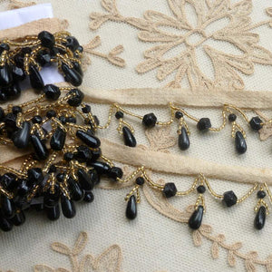 Antique Jet Black and Gold Glass Beaded Trim