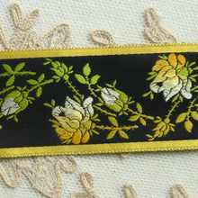 Load image into Gallery viewer, Vintage French Gold/Yellow Ombre Woven Roses