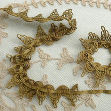 Load image into Gallery viewer, Antique Gold METAL Trim Cord and Metal Lace