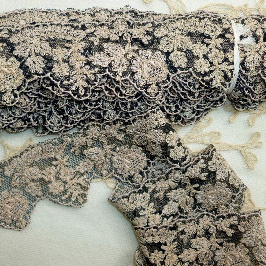 Antique French Embroidered Black Net Lace