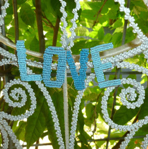 Antique French Blue Beaded Letters