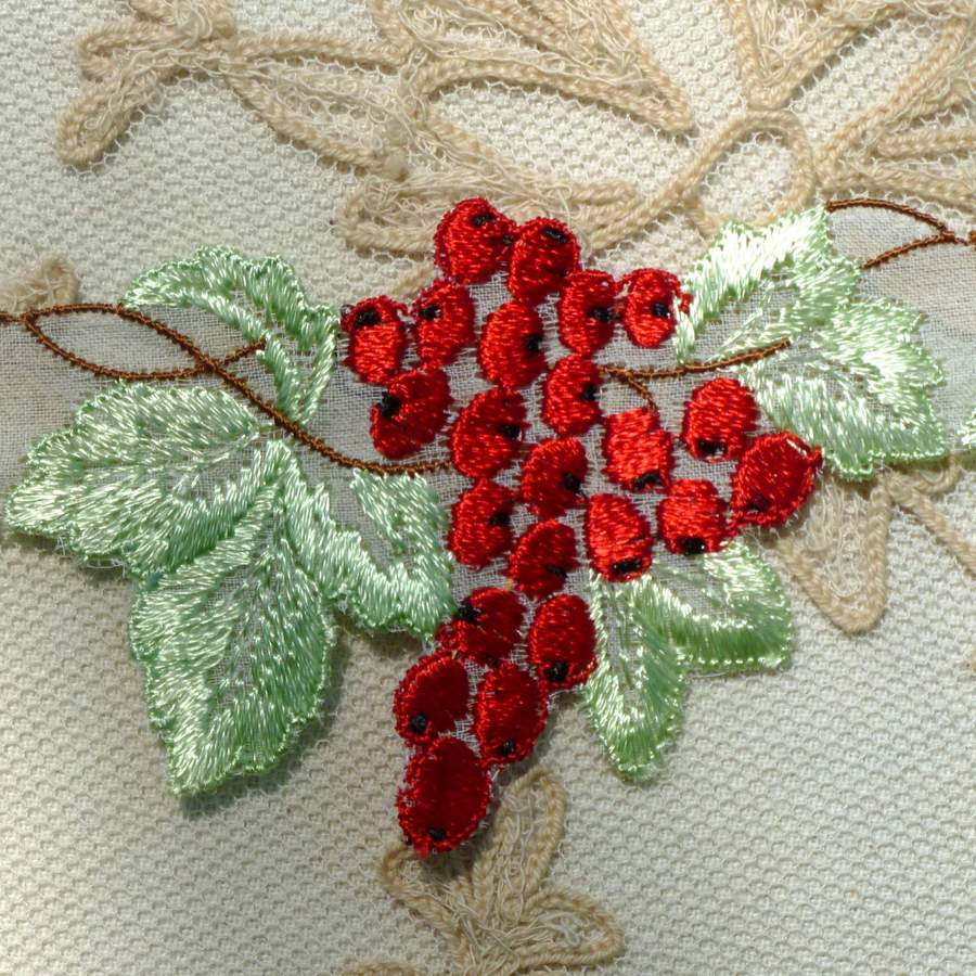 Vintage Swiss Organdy Embroidered Cherries/Berries Applique