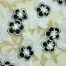 Load image into Gallery viewer, Vintage Swiss Embroidered Organza Petaled Black Layered Flowers Lacy Leaves