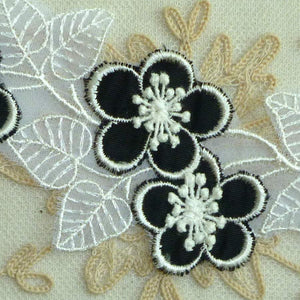 Vintage Swiss Embroidered Organza Petaled Black Layered Flowers Lacy Leaves