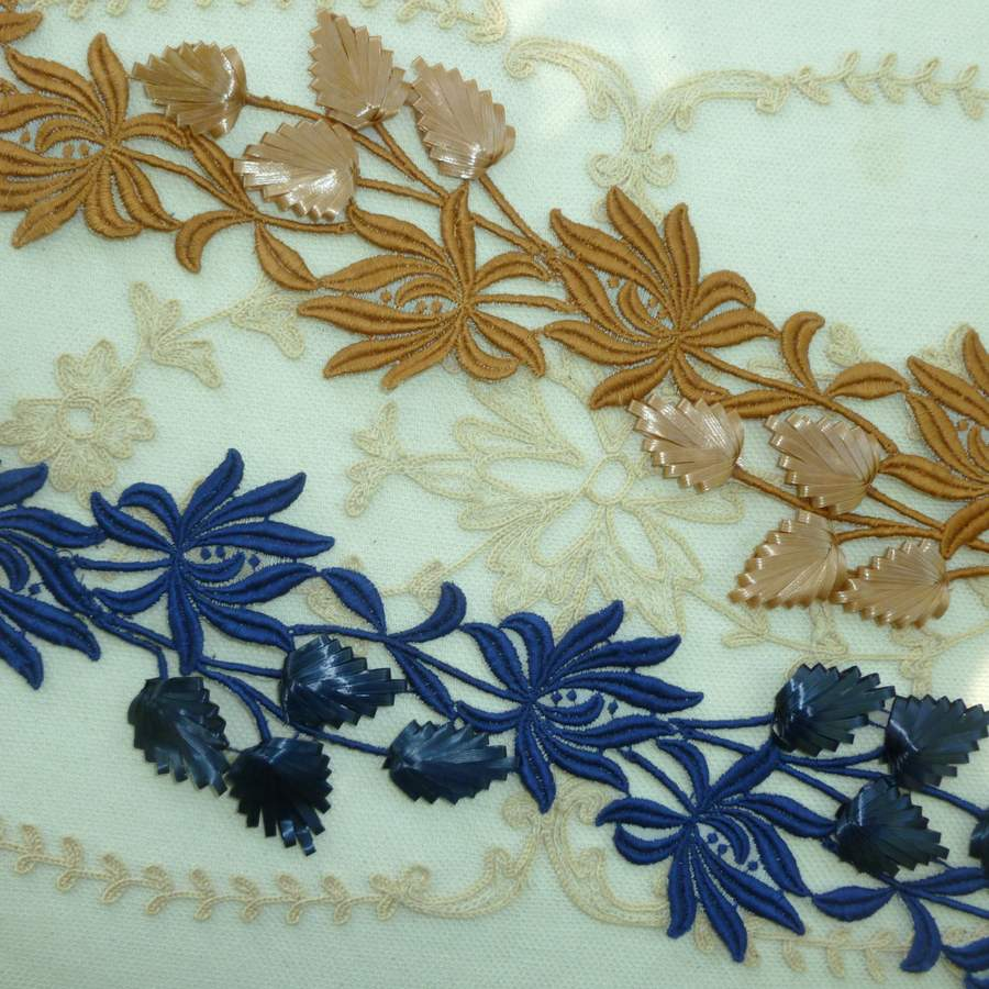 Fine Vintage Cotton Embroidered and Straw Millinery Trim