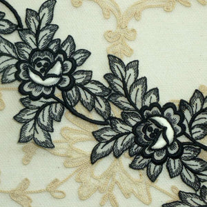 Vintage Swiss Padded Rose and Embroidered Leaf Motifs