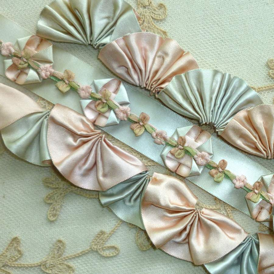 Vintage SILK Satin Double Faced Two Colored Ribbon