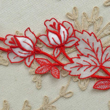 Load image into Gallery viewer, Vintage Swiss Red Cotton Embroidered Organza Trim