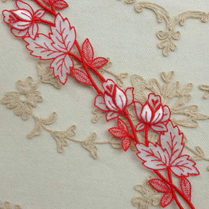 Vintage Swiss Red Cotton Embroidered Organza Trim