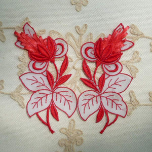 Vintage Swiss Embroidered Organza and Artificial Straw Flower Motif