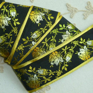 Vintage French Gold/Yellow Ombre Woven Roses