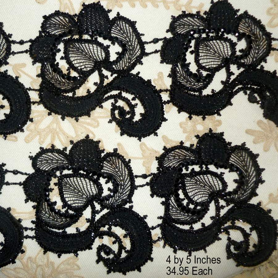 Victorian Glass Beaded Applique