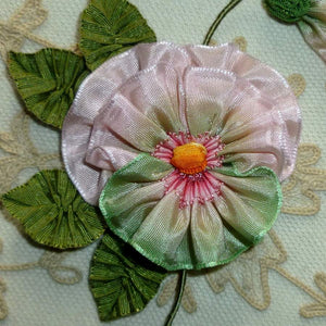 French Ombre Ribbon Pansy with Bud and Four Leaves